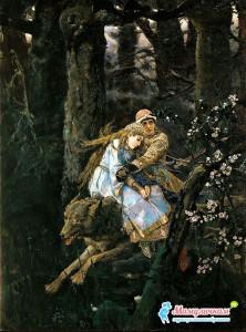 Помчался серый волк с Иваном-царевичем и Еленой Прекрасной, иллюстрация Виктор Васнецов 1889 год