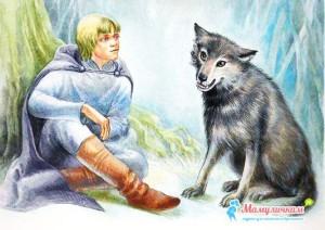 Картинка Иван-царевич разговаривает с серым волком