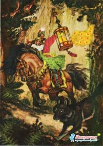 Иван-царевич попрощался с серым волком, возвращается домой