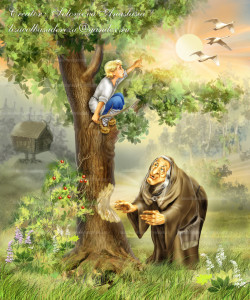 Ведьма Чувилиха грызет дуб, а Терешечка гусей о помощи просит, художник Анастасия Соловьева