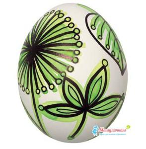 Картинка разрисованного яйца чернилами и фломастерами