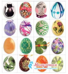 Фото окрашенных яиц на Пасху с детьми