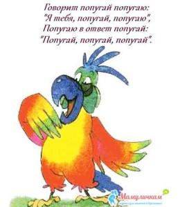 Говорит попугай попугаю: «Я тебя попугаю, попугаю!»