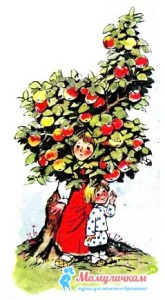 Яблоня заслонила и прикрыла листиками детей