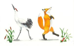 Дружба у лисы с журавлем врозь картинка