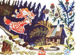 Лиса тащит Жихарку в лес картинка